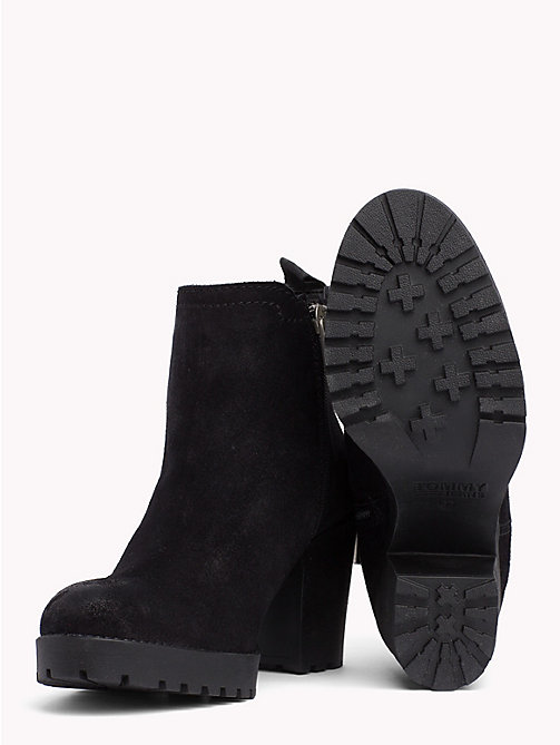 TOMMY JEANS Suede Mid Heel Boot - BLACK - TOMMY JEANS Shoes - detail image 1