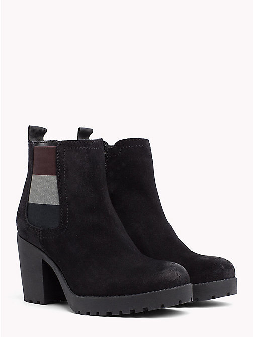 TOMMY JEANS Suede Mid Heel Boot - BLACK - TOMMY JEANS VACATION - main image