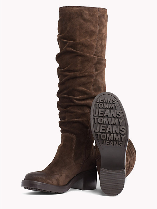 TOMMY JEANS Long Suede Biker Boots - COFFEE BEAN - TOMMY JEANS Shoes - detail image 1
