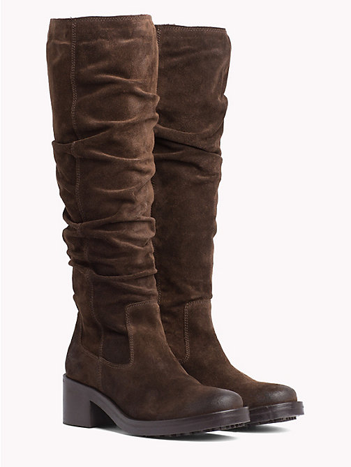 TOMMY JEANS Long Suede Biker Boots - COFFEE BEAN - TOMMY JEANS Shoes - main image