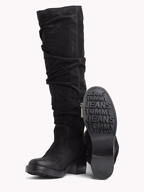 TOMMY JEANS Long Suede Biker Boots - BLACK - TOMMY JEANS Shoes - detail image 1