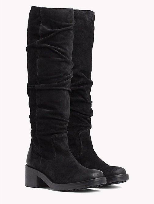 TOMMY JEANS Long Suede Biker Boots - BLACK - TOMMY JEANS Shoes - main image