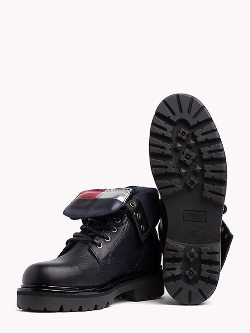 TOMMY JEANS Flag Tongue Lace-Up Boots - BLACK - TOMMY JEANS Shoes & Accessories - detail image 1