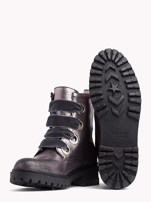 TOMMY JEANS Metallic Cleated Lace-Up Boots - STEEL GREY - TOMMY JEANS Shoes & Accessories - detail image 1
