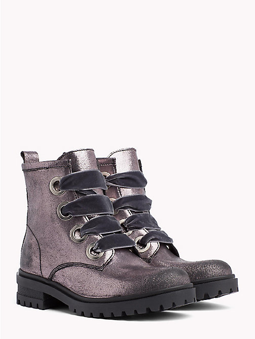 TOMMY JEANS Metallic Cleated Lace-Up Boots - STEEL GREY - TOMMY JEANS Shoes & Accessories - main image