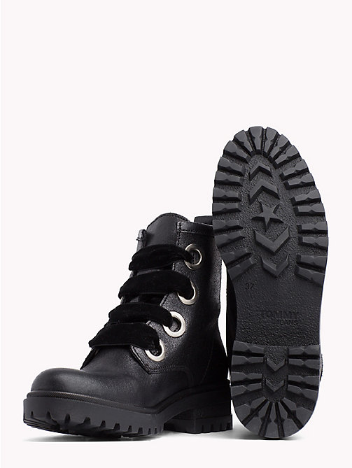 TOMMY JEANS Metallic Cleated Lace-Up Boots - BLACK - TOMMY JEANS Shoes - detail image 1