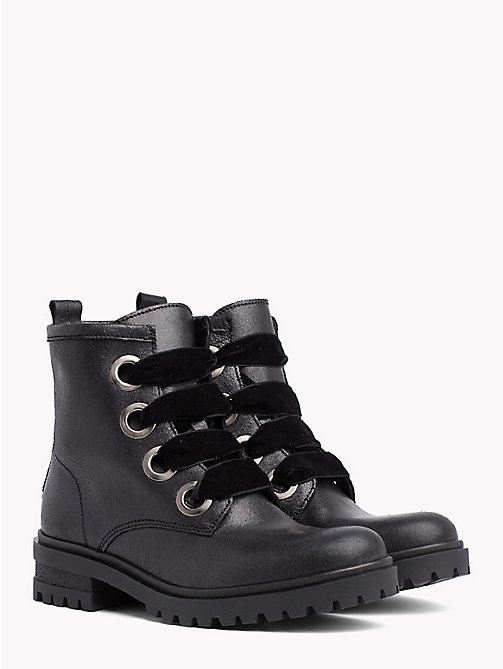 TOMMY JEANS Metallic Cleated Lace-Up Boots - BLACK - TOMMY JEANS Shoes & Accessories - main image