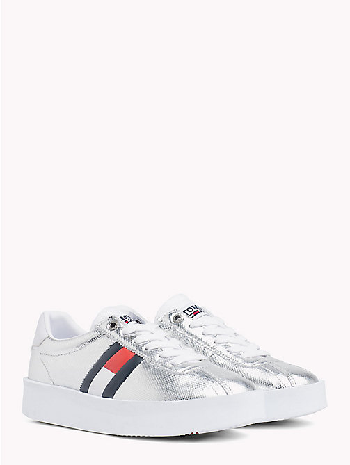 TOMMY JEANS Metallic Leather Trainers - SILVER - TOMMY JEANS Shoes & Accessories - main image
