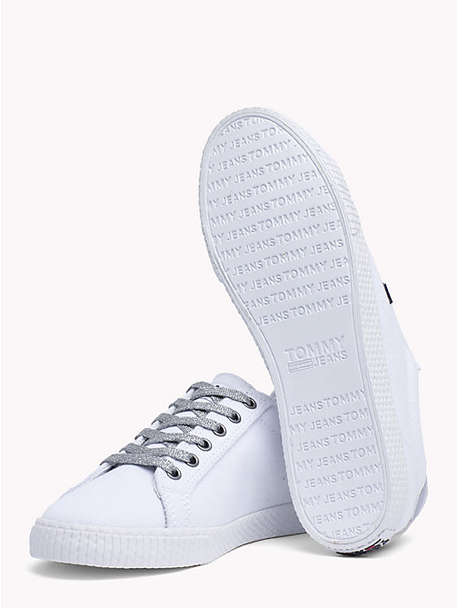 TOMMY JEANS Metallic Heel Textile Trainers - WHITE - TOMMY JEANS Shoes & Accessories - detail image 1