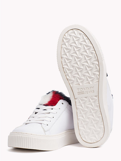 TOMMY JEANS Furry Tongue Lace-Up Trainers - WHITE - TOMMY JEANS Shoes & Accessories - detail image 1