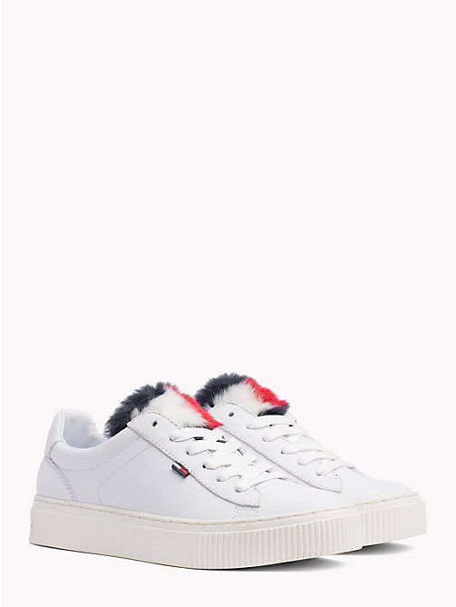 TOMMY JEANS Furry Tongue Lace-Up Trainers - WHITE - TOMMY JEANS Shoes & Accessories - main image