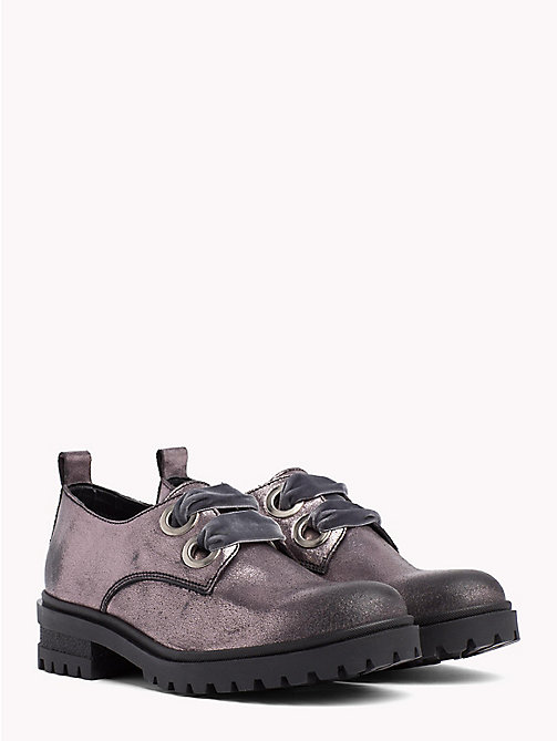TOMMY JEANS Metallic Cleated Lace-Up Shoes - STEEL GREY - TOMMY JEANS Shoes & Accessories - main image