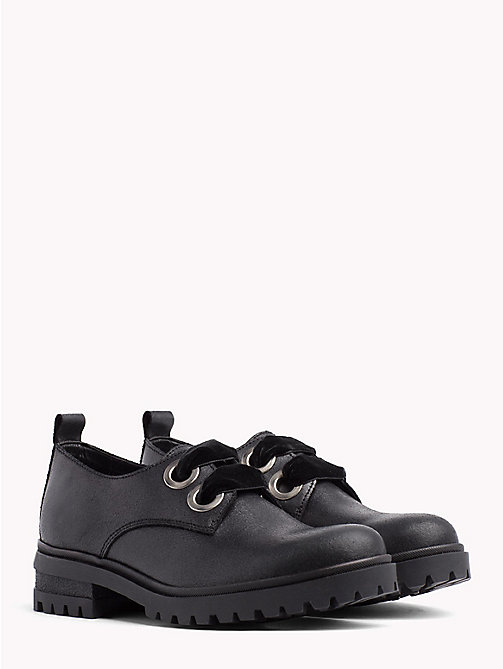 TOMMY JEANS Metallic Cleated Lace-Up Shoes - BLACK - TOMMY JEANS Shoes - main image