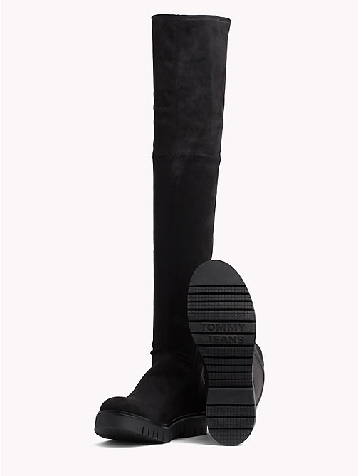TOMMY JEANS Over-Knee Suede Boots - BLACK - TOMMY JEANS Shoes - detail image 1