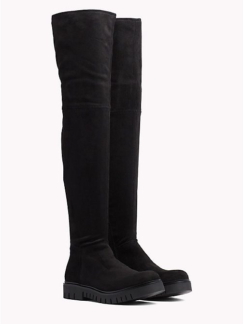 TOMMY JEANS Over-Knee Suede Boots - BLACK - TOMMY JEANS Shoes - main image