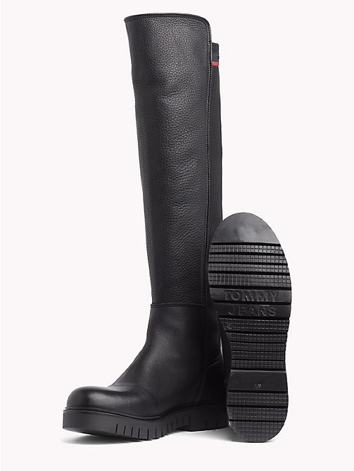 TOMMY JEANS Tall Leather Sock Boot - BLACK - TOMMY JEANS Shoes & Accessories - detail image 1