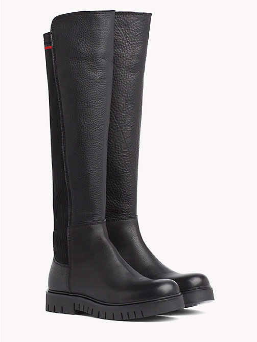 TOMMY JEANS Tall Leather Sock Boot - BLACK - TOMMY JEANS VACATION - main image