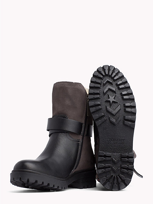 TOMMY JEANS Lined Leather Biker Boots - BLACK - TOMMY JEANS Shoes - detail image 1