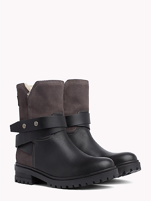 TOMMY JEANS Lined Leather Biker Boots - BLACK - TOMMY JEANS Shoes - main image