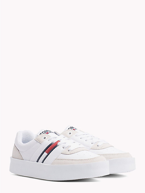 TOMMY JEANS Lightweight Contrast Panel Trainers - WHITE - TOMMY JEANS NEW IN - main image