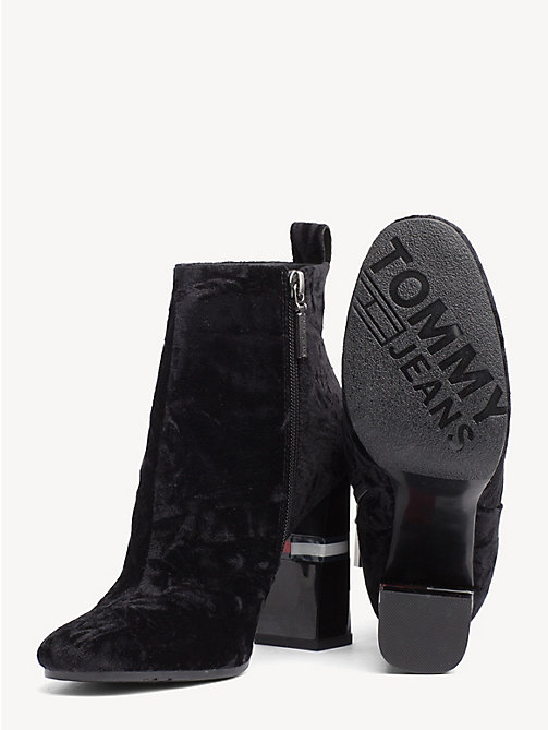 TOMMY JEANS Crushed Velvet Ankle Boots - BLACK - TOMMY JEANS Shoes & Accessories - detail image 1