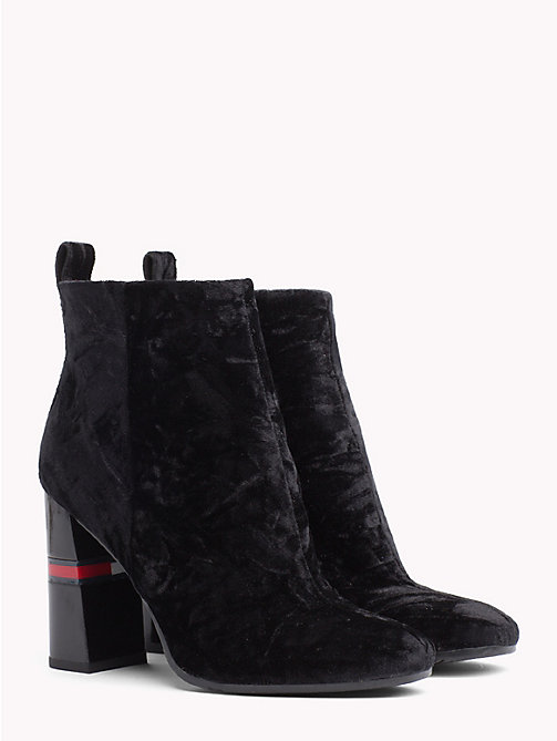 TOMMY JEANS Crushed Velvet Ankle Boots - BLACK - TOMMY JEANS Shoes & Accessories - main image