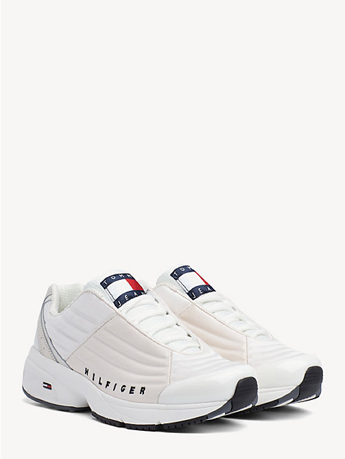TOMMY JEANS Heritage Metallic Trim Trainers - WHITE - TOMMY JEANS Shoes & Accessories - main image