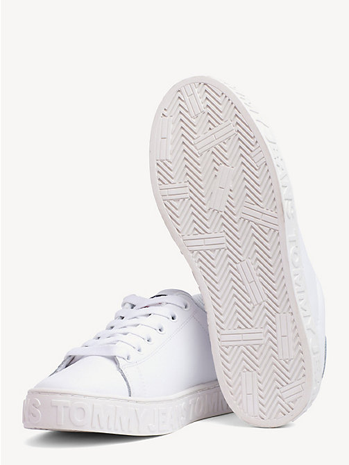 TOMMY JEANS Embossed Leather Trainers - WHITE - TOMMY JEANS Shoes & Accessories - detail image 1