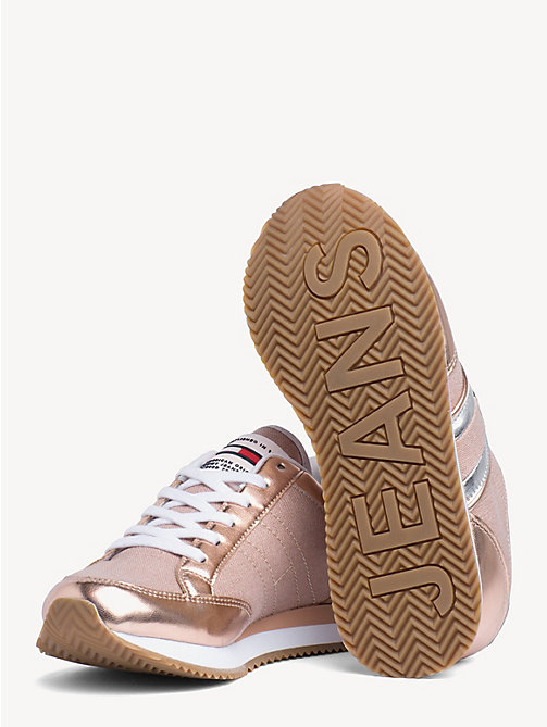 TOMMY JEANS Stripe Side Metallic Trainers - ROSE GOLD - TOMMY JEANS Shoes & Accessories - detail image 1