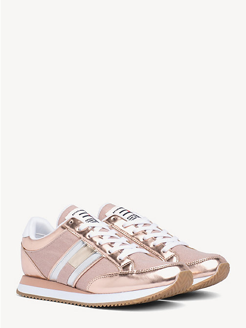 TOMMY JEANS Stripe Side Metallic Trainers - ROSE GOLD - TOMMY JEANS Shoes & Accessories - main image