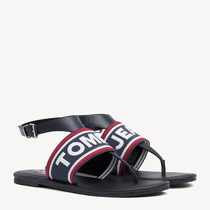 8cdb623cb6f4e4 Webbing Logo Flat Sandals