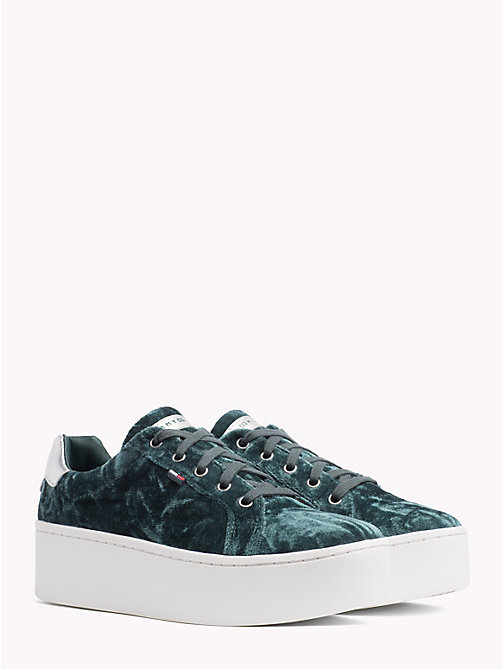 TOMMY JEANS Crushed Velvet Flag Trainers - GREEN GABLES - TOMMY JEANS NEW IN - main image