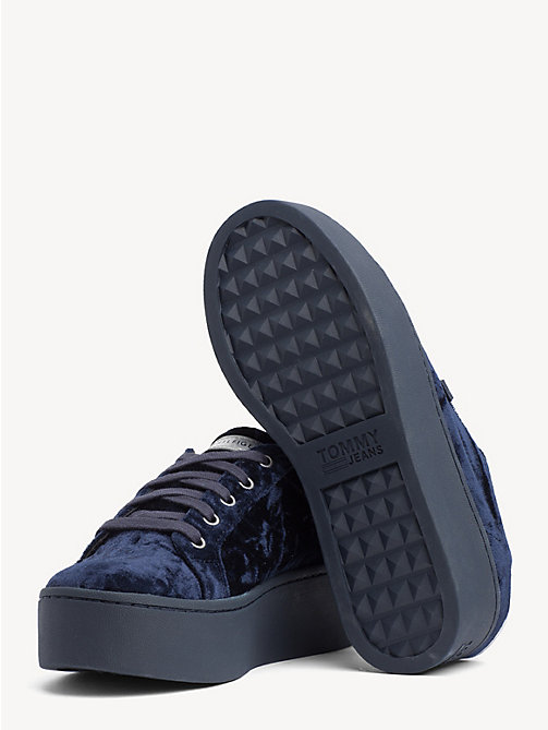 TOMMY JEANS Crushed Velvet Flag Trainers - MIDNIGHT - TOMMY JEANS Shoes & Accessories - detail image 1