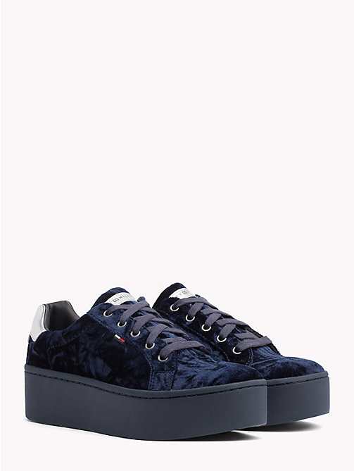 TOMMY JEANS Crushed Velvet Flag Trainers - MIDNIGHT - TOMMY JEANS Shoes & Accessories - main image