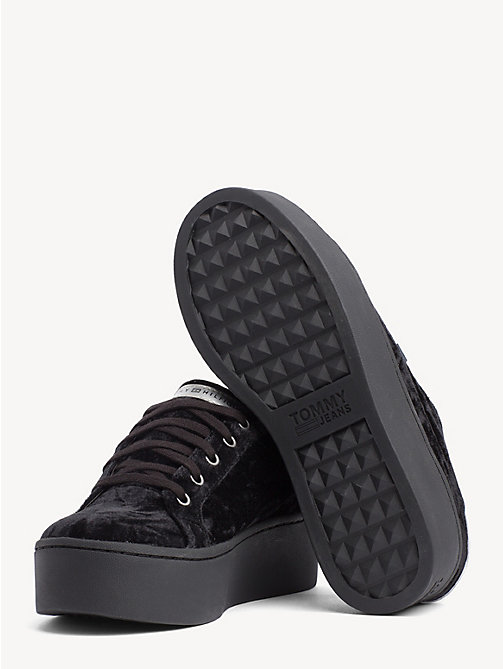 TOMMY JEANS Crushed Velvet Flag Trainers - BLACK - TOMMY JEANS Shoes & Accessories - detail image 1