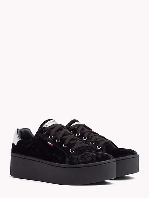TOMMY JEANS Crushed Velvet Flag Trainers - BLACK - TOMMY JEANS NEW IN - main image