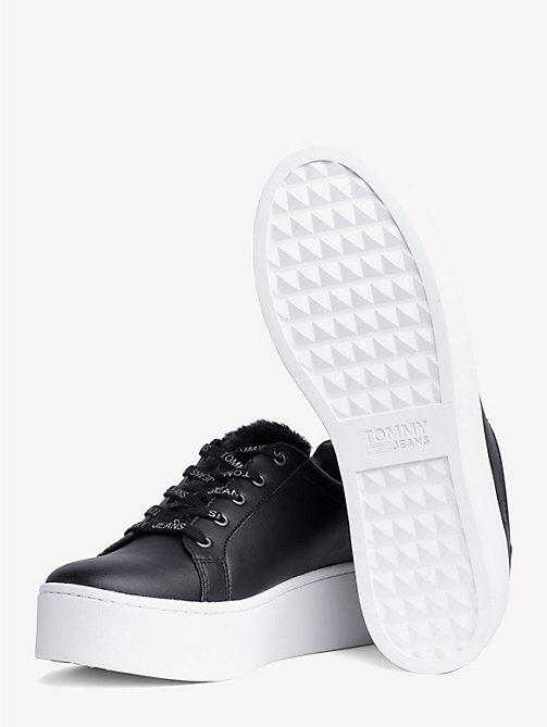 TOMMY JEANS FUNNY FAUX FUR SNEAKER - BLACK - TOMMY JEANS Shoes & Accessories - detail image 1