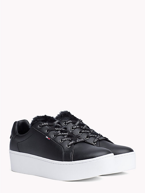 TOMMY JEANS FUNNY FAUX FUR SNEAKER - BLACK - TOMMY JEANS Shoes & Accessories - main image