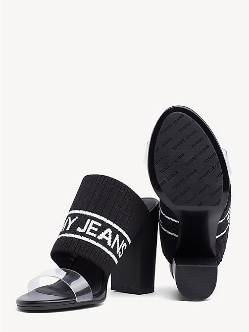 TOMMY JEANS Knitted Heeled Mules - BLACK - TOMMY JEANS Shoes & Accessories - detail image 1