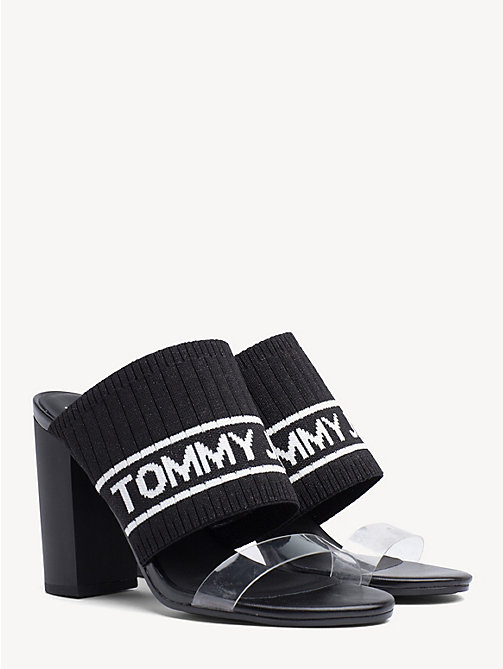 TOMMY JEANS Knitted Heeled Mules - BLACK - TOMMY JEANS Shoes & Accessories - main image