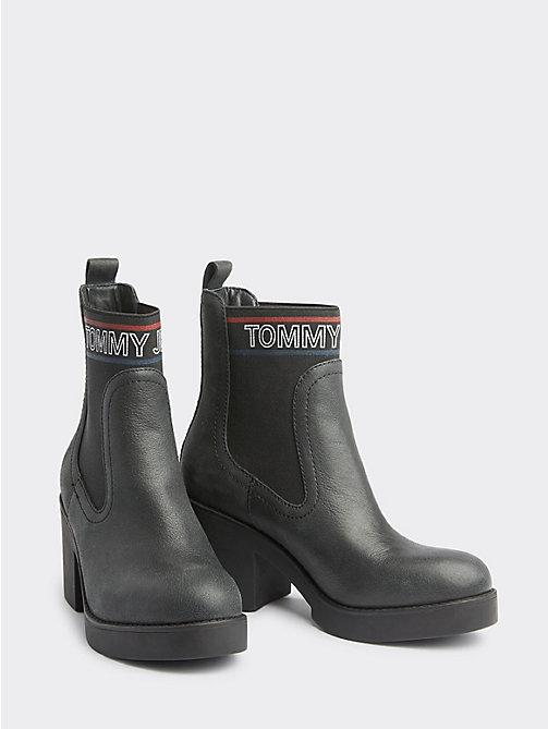 535c254c8d72 stivaletti con logo e sezione elastica black da donna tommy jeans