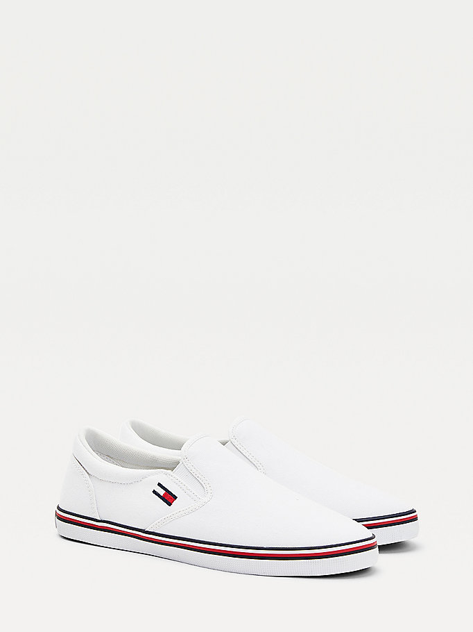 white essential slip-on trainers for women tommy jeans