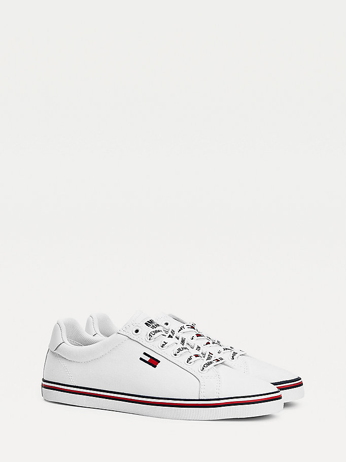 white essential low-top trainers for women tommy jeans