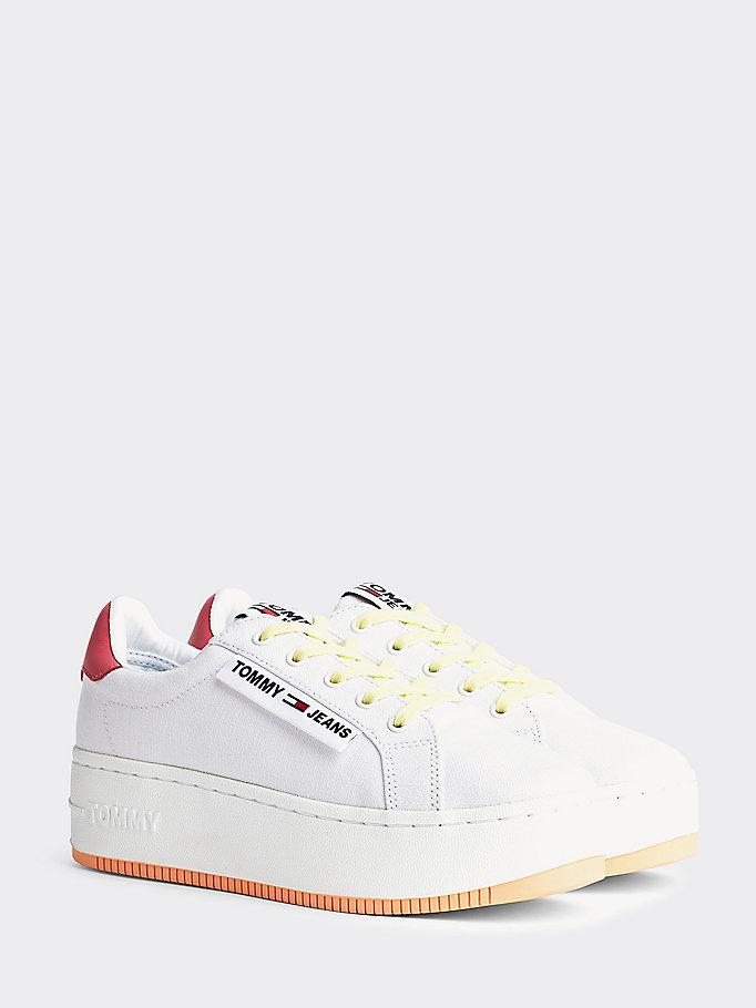 Sneakers donna bianche con suola alta e logo TOMMY JEANS