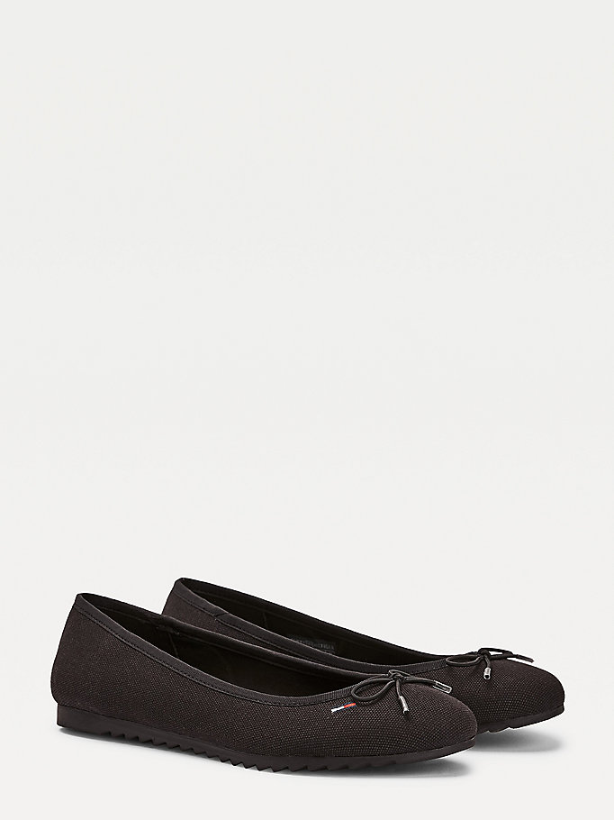black cotton ballerina flats for women tommy jeans