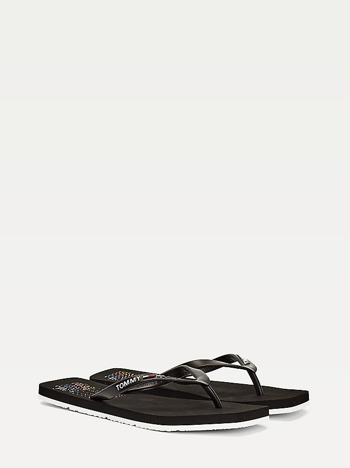 black retro logo square toe flip-flops for women tommy jeans