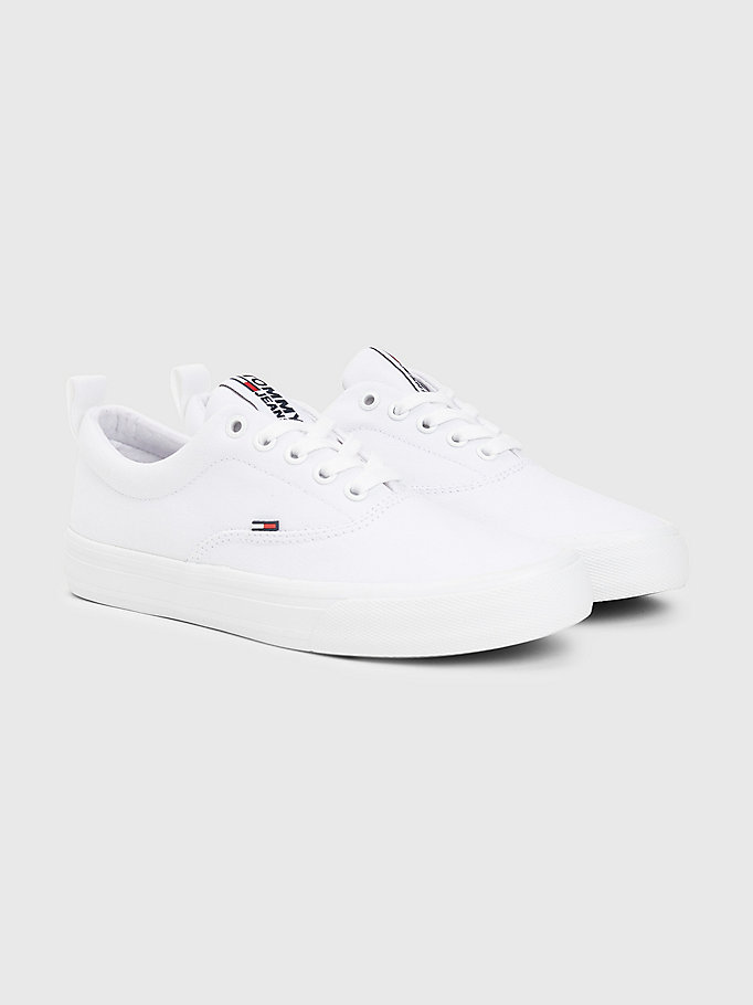 white classics low-top cotton trainers for women tommy jeans