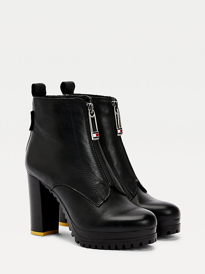 black zip front leather heeled boots for women tommy jeans