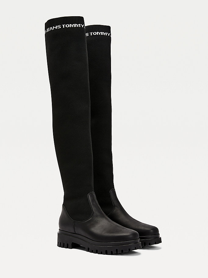 black repeat logo over the knee boots for women tommy jeans