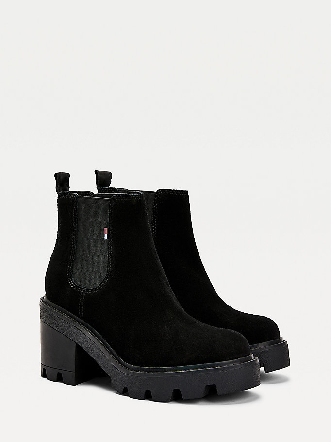 black essential suede chelsea boots for women tommy jeans